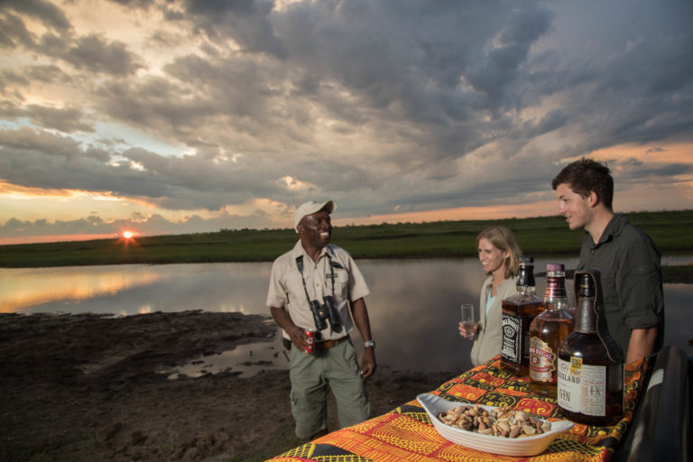 Sundowners are enjoyed at scenic spots during afternoon drives courtesy of Muchenje