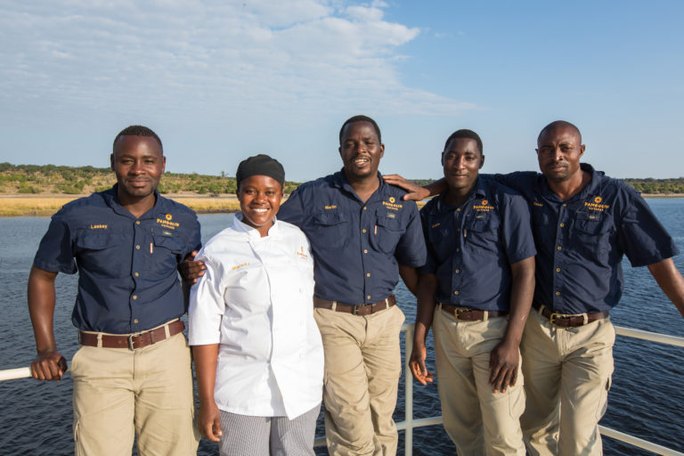 The professional friendly crew of the Pangolin Voyager houseboat