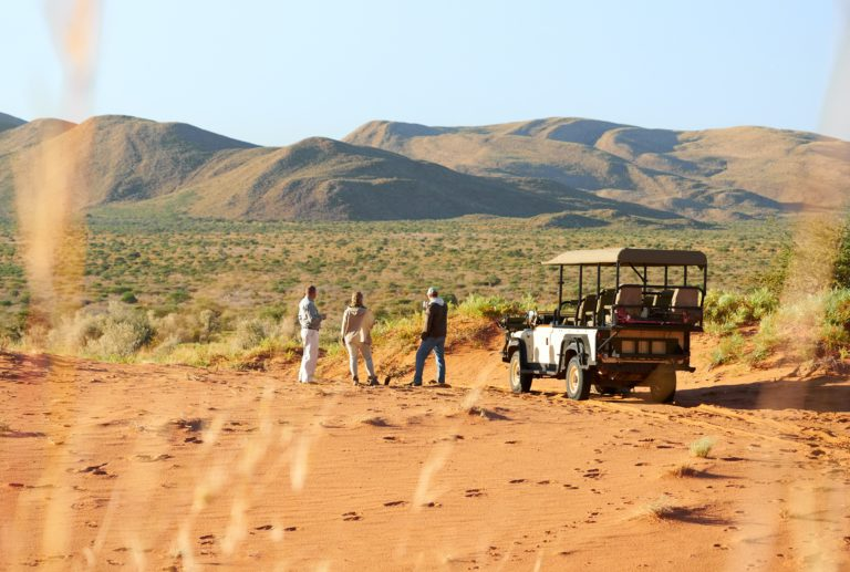 Private game drive vehicle at Motse