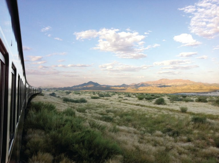 Passing landscape of the Kalahari in Namibia on the Rovos Rail