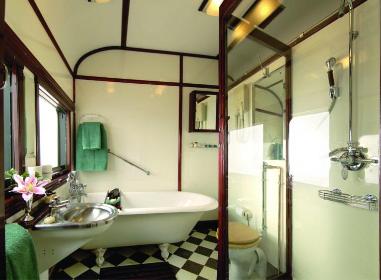 The luxurious Rovos Rail Royal suite bathroom