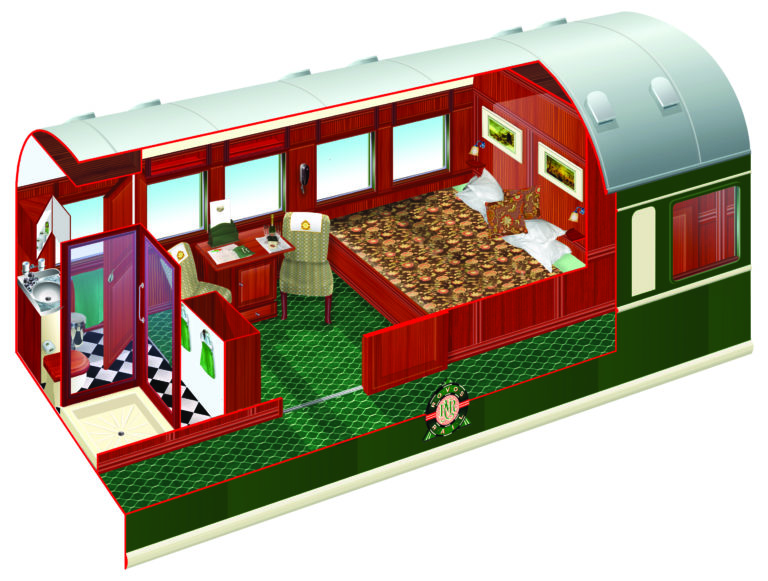 Rovos Rail diagram of Deluxe Cabin length ways layout