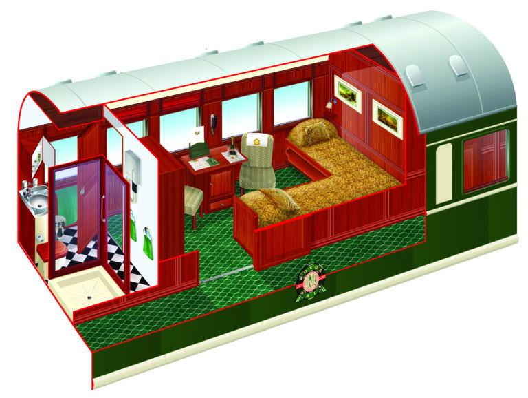 Rovos Rails diagram of Deluxe cabin twin beds