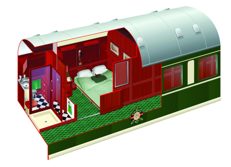 Rovos Rails diagram of the Pullman Cabins double bed