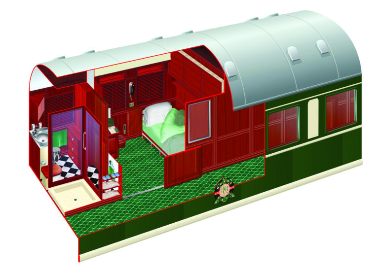 Rovos Rails diagram of the Pullman Cabins single bed