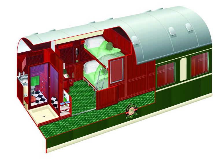 Rovos Rails diagram of the Pullman Cabins twin bunks