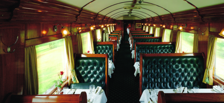 The elegant dining car of the world renowned Rovos Rail