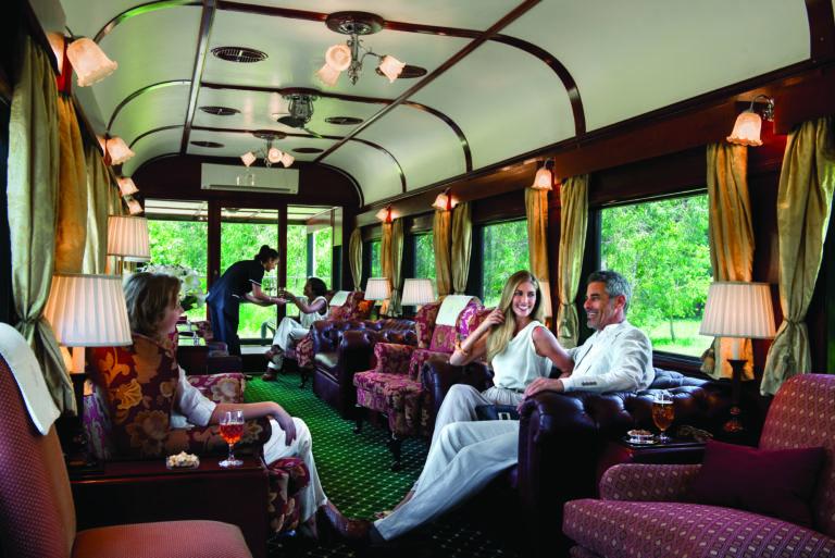 The luxury passenger lounge area on the Rovos Rail