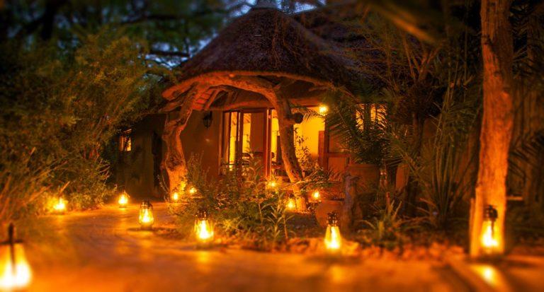 Royal Tree Lodge entrance at night lit by lantern light