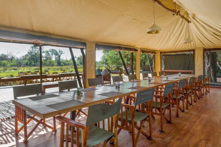 Saguni Safari Lodge dining room area with view over Sable River