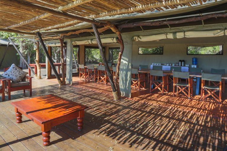 Saguni Safari Lodge main deck area with dining table