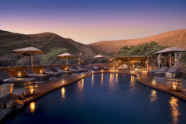 Tarkuni swimming pool at sunset
