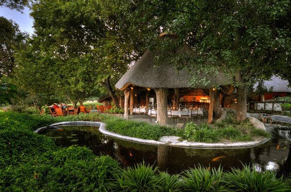 The lush gardens at Thamalakane River Lodge