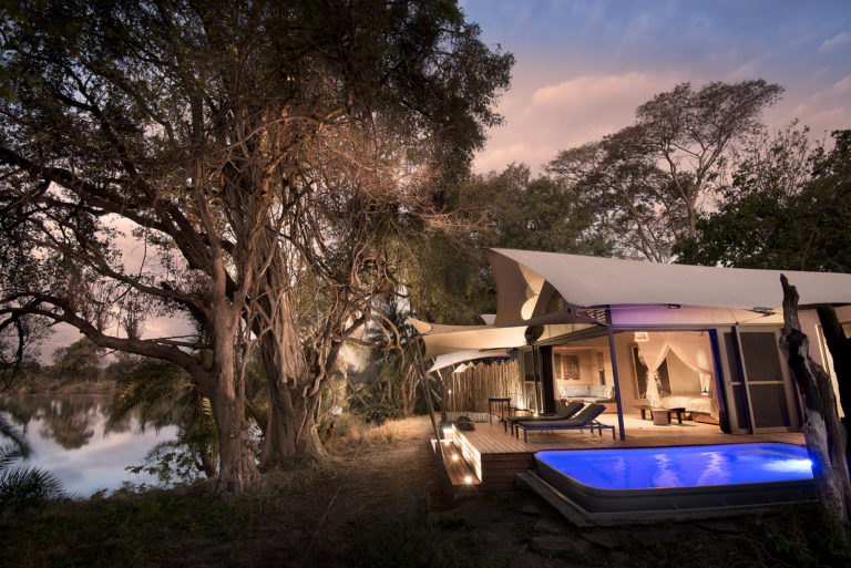 Luxury guest tent with private plunge pool as seen at Thorntree