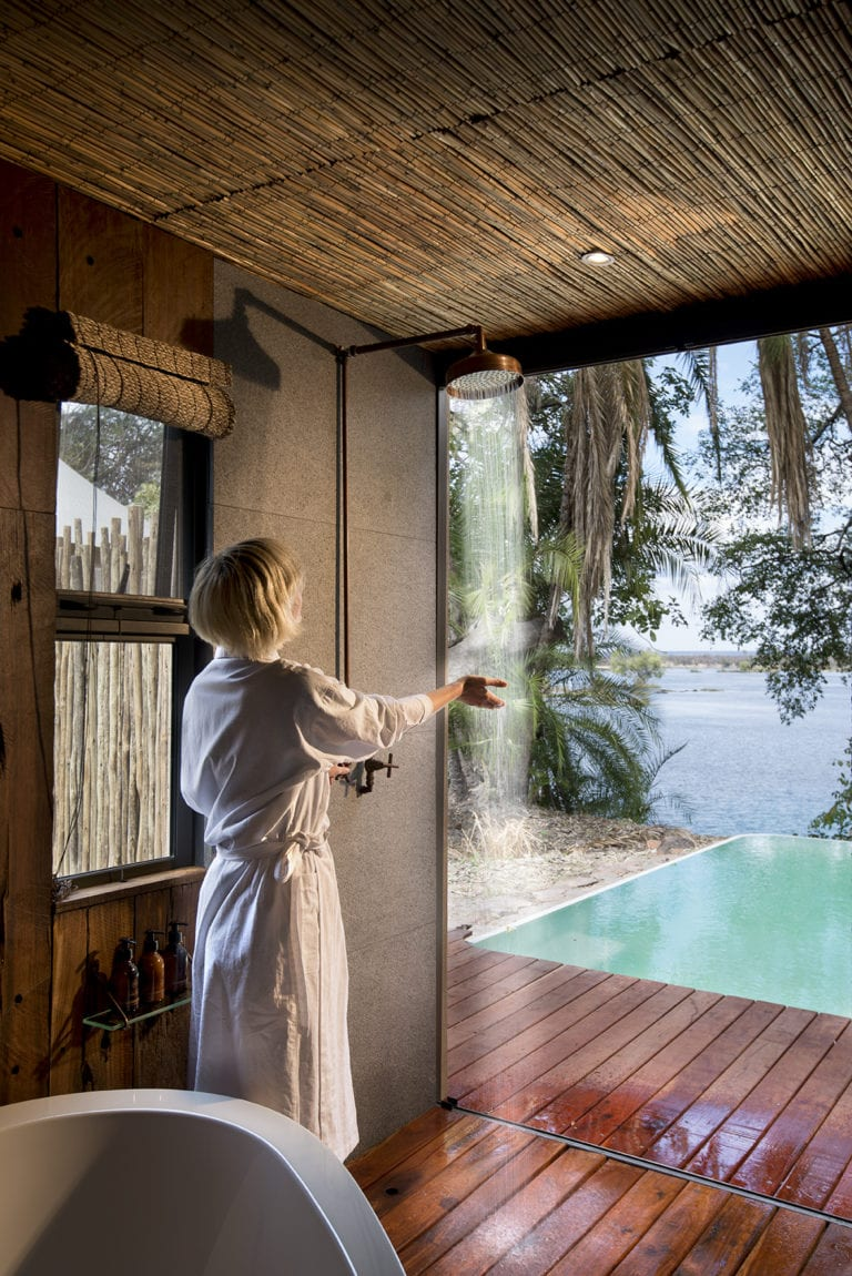 Thorntree River Lodge shower with a view