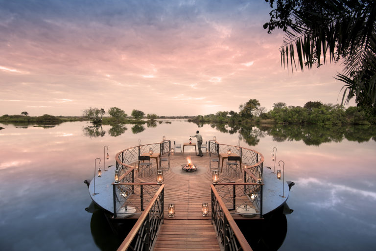 The floating fire deck is a focal point at Thorntree River Lodge
