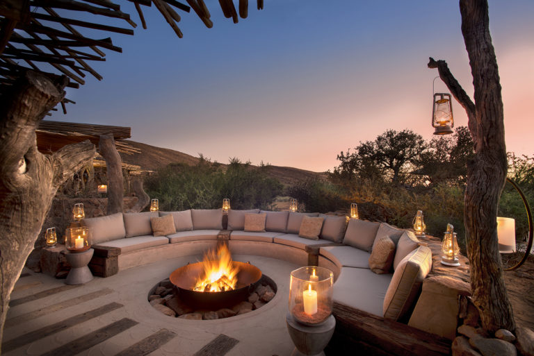 Tarkuni's delightful fire pit at Tswalu invites guests into its warmth