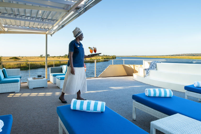 Zambezi Queen front deck with plunge pool