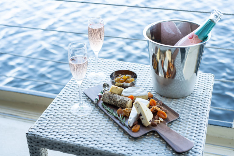 Champagne and cheese on the Zambezi Queen