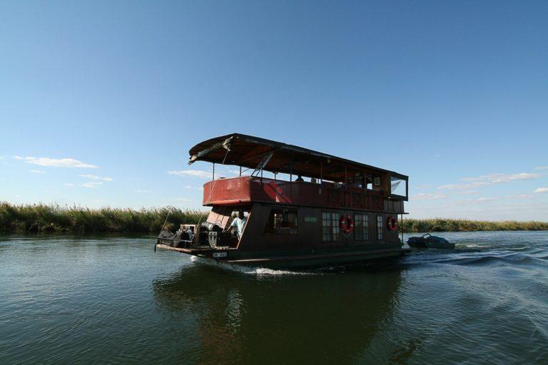The Kubu Queen houseboat in the Pan Handle of the Delta