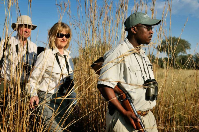 On foot in the long grass with Footsteps Walking Safaris