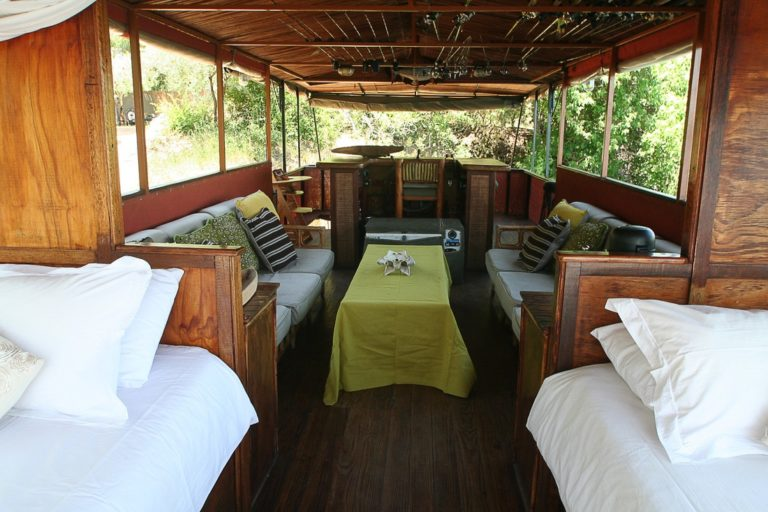 Upper deck of Kubu Queen an old style African safari boat