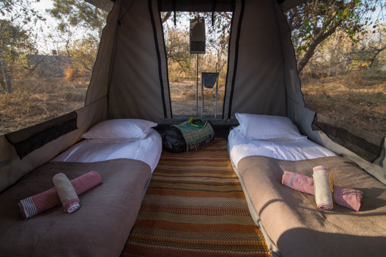 The comfortable yet simplistic interior layout of Beagle Expeditions' tents