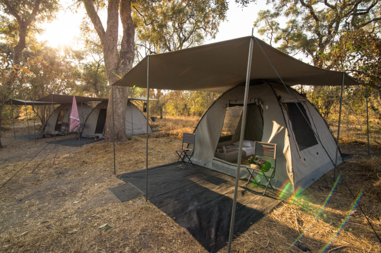 Guest tent with shade cover on site with Beagle Expeditions