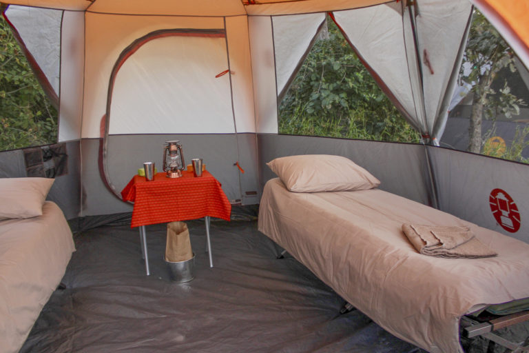 Interior view of guest tent on an authentic David Foot Safari