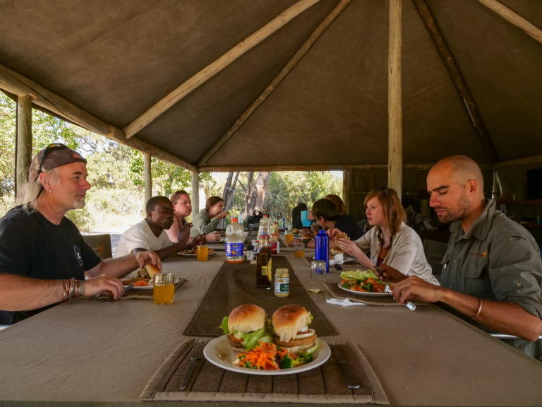 Mealtimes are communal affairs at Kwapa Camp