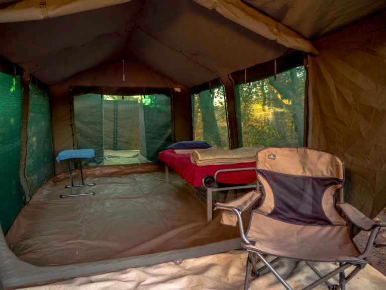 Interior of new tent at Kwapa Camp