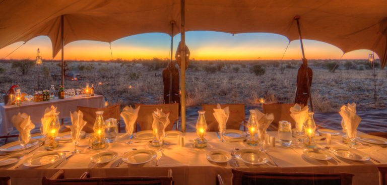 Guest dinner with a view on a Pride of Africa mobile safari