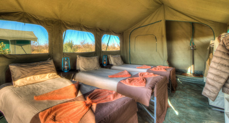 Pride of Africa's mobile camps are serviced daily