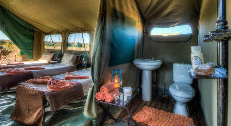Image of a mobile luxury tent on safari with Pride of Africa