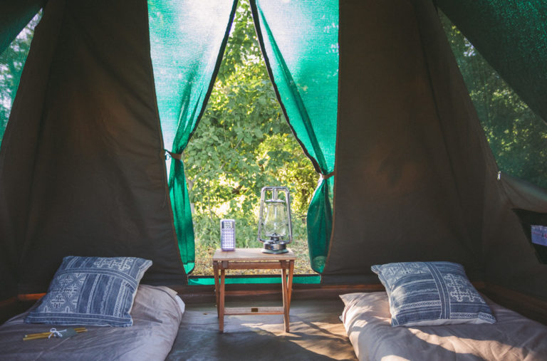 The adventure camp dome tent interior with Walk Safaris Botswana