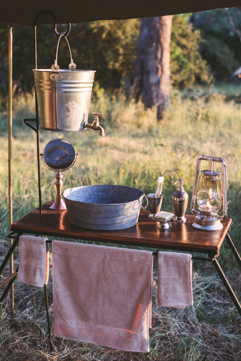 The luxury camps feature wash basins with running water and thoughtful touches