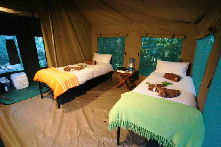 Twin tent interior at Endeavor Safaris