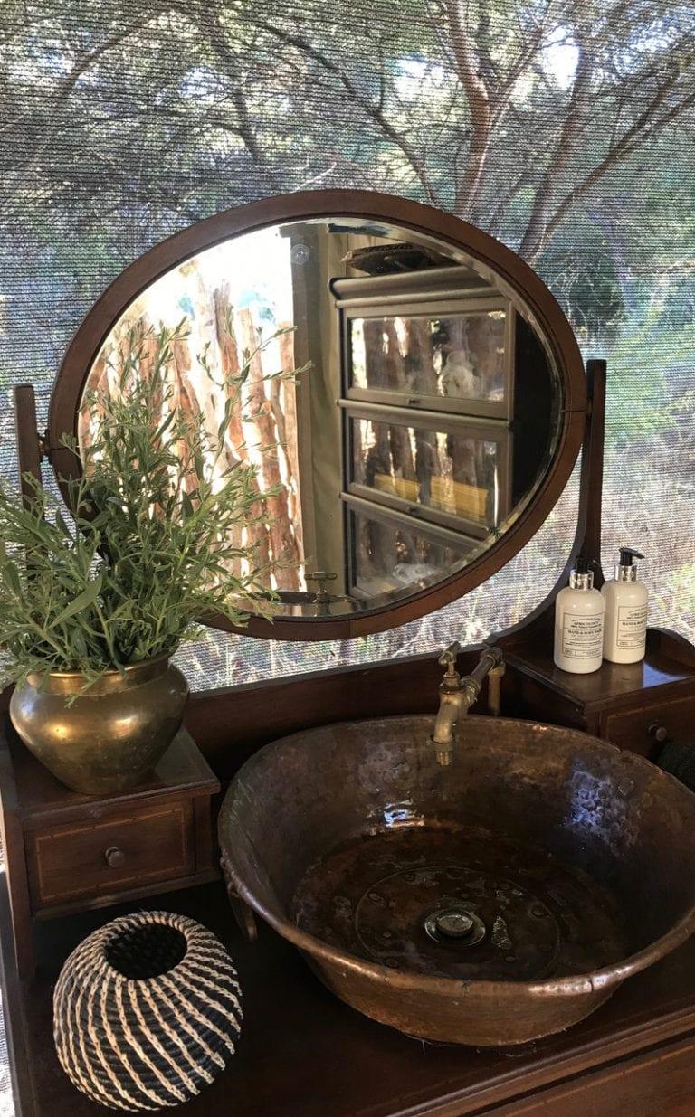 Guest bathroom elegance at Little Pan Camp