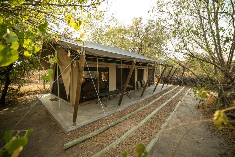 Guest tents set amongst the indigenous botanical gardens of Little Pan Camp