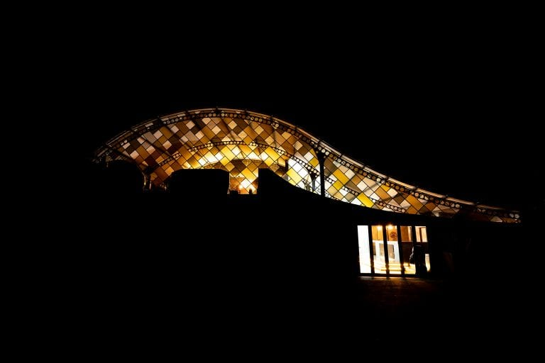 The Pangolin shaped glass entrance to the hotel