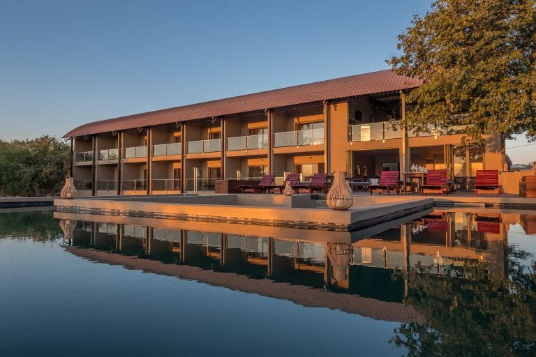 Pangolin Chobe Hotel view from the swimming pool
