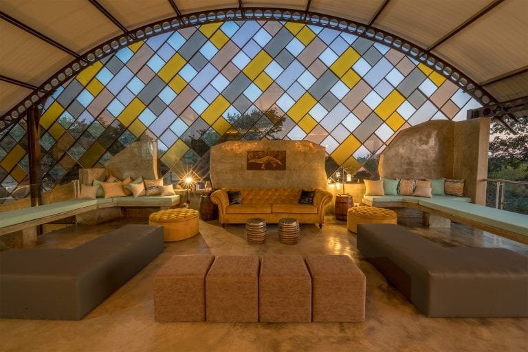 The striking glass panels of the Pangolin bar